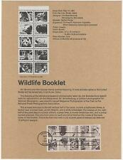 US 1981 FDC Souvenir page Wildlife Booklet 10 stamps with First Day cancel  