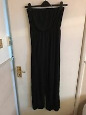 BNWT Missguided Strapless Bandeau Boob Tube Black Jumpsuit Size 8