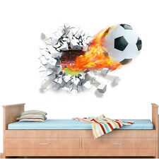 Football Break the Wall 3D Wall Mural Removable Wall Sticker Decal Room Decor