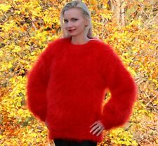 SUPERTANYA RED Hand Knitted Mohair Sweater Handcrafted Fuzzy Pullover Jersey