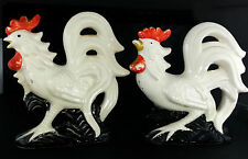 Roosters Salt & Pepper Shakers MidCentury 1950s Vintage Kitsch White Birds