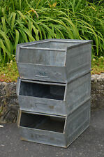 Vintage Industrial Metal Steel Galvanised Storage Bins Box tote LARGE retro TMT