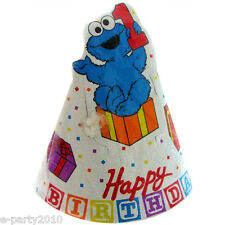 SESAME STREET 1st BIRTHDAY CONE HATS (8) ~ First Party Supplies Favors Elmo Blue