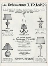 Publicité TITO - LANDI  Luminaire Lighting  lamp vintage Art Deco  ad  1929 - 6h