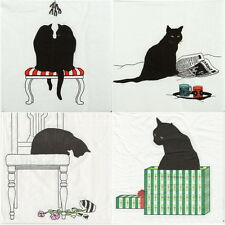 4 Single Lunch Party Paper Napkins for Decoupage Decopatch Craft Black Cat Mix