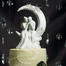 Porcelain Moon and Stars Romantic White Wedding Cake Topper