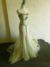 Gorgeous Vintage Musani Gold Couture evening gown strapless gold beaded size 8