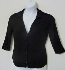 NEW HEATHER B Women's 3/4 Sleeve Knit Cardigan Sweater Button front Black M