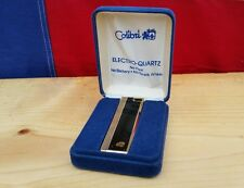 1970s Black Colibri Gold Tone Electro-Quartz Stick Lighter Box Vintage Cigarette
