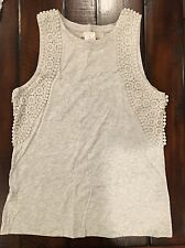Ann Taylor LOFT Lace Edged Shell Knit Top NWT Small