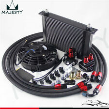 "25 Row AN8 Engine Oil Cooler /Filter Relocation hose + 7"" Electric Fan Kit BK"