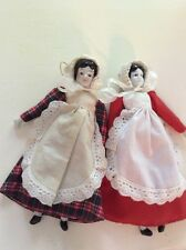 Antique Porcelain Cloth Sawdust Dolls Pair Of 2 Germany.7.5""
