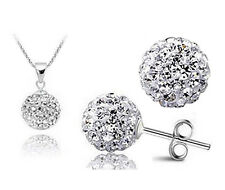 Silver Glitter Ball Earrings & Necklace Set Inc18 Inch Loop Chain