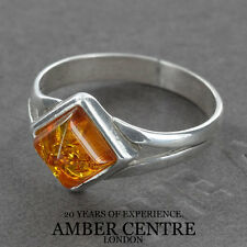 Square Shaped Rich Orange Baltic Amber In 925 Silver WR278; RRP £20; Size L