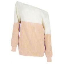 Mujer Hombros Descubiertos Jersey Jersey De Punto Sudadera Suéter Camiseta Larga