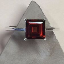 Natural Princess Cut 1.5ct Fire Garnet 925 Solid Sterling Silver Ring sz 6.75