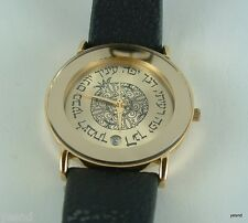 Israeli golden watch women girl ladies Adi quartz Judaica date  gift jew hebrew
