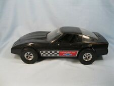 "Black Chevrolet Corvette Large Plastic Toy Car 11.5"" Tootsietoy Strombecker (O)"