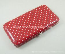 RED MINI POLKA DOT FLAT OPERA WALLET CLUTCH PURSE HANDBAG COIN CREDIT CARD BAG