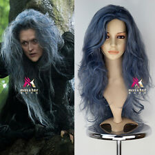 Movie Into the Woods Synthetic Long Wavy Grey blue mix Witch Anime Cosplay Wigs