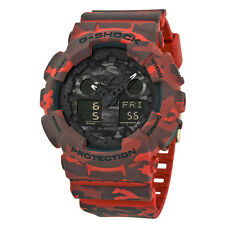 Casio G Shock Red Camoflauge Resin Mens Watch GA100CM-4A