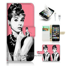 iPhone 5 5S Print Flip Wallet Case Cover! Audrey Hepburn P0399