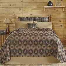 Jefferson Star King Chenille Woven Jacquard Coverlet Tan/Black Stars Bedspread