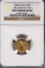2008 $5 Gold American Eagle MINT ERROR DIE CRACK @7:00 NGC MS69 1/10 Ounce AC