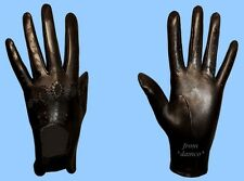 NEW WOMENS size 7 BLACK GENUINE LAMBSKIN - KID LEATHER DRIVING GLOVES