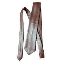 Mens brown genuine leather neck tie brand new