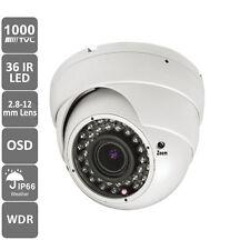 1000TVL CCTV Dome Camera 2.8-12mm 36pcs 100' IR WDR Weatherproof Day Night White