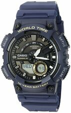 Casio AEQ110W-2AV Watch, Rugged World Time Digital & Analog Water Resistant Blue