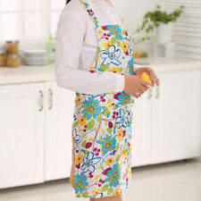 Women Restaurant Home Kitchen Cooking Apron Bib Floral Pattern Precise Blue