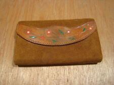 Vintage Leather Wallet Purse-Clutch-Hippie-Boho-Flower-Painted