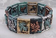 Maple Leaf Stretch Bracelet Silver Gold Copper Green Fashion Jewelry NEW