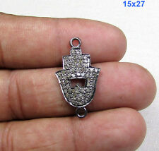 Hamsa Design Pave Diamonds 925 Sterling Silver Connector Finding Jewelry Link