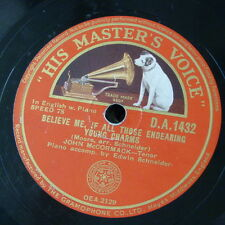 78rpm JOHN McCORMACK believe me if all endearing young charms / o mary dear
