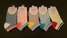 5 Pairs Women Candy Color Cute Ankle High Low Cut Cotton Socks Sports Casual New