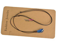 H2O just add water Mako Mermaids Necklace Swarovski Crystal Pendant Brown Cord #