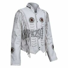 Men White Color Western Cowboy Cow Leather Jacket  With Fringe, Bone and Beads