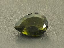 4.95cts drop pear 16x11x5mm standart cut moldavite faceted cutted gem BRUS899