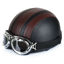 Brown Motorcycle Scooter PU Leather Open Face Half Helmet w/Visor+Goggles @@A
