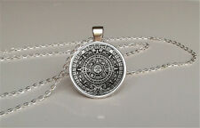 Aztec calendar pendant,mayan pendant,old necklace,steampunk jewelry,vintage gift