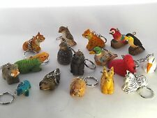 17 Jungle Wooden Keyrings Keychains PARTY BAG TOYS, GIFTS, FAVOURS
