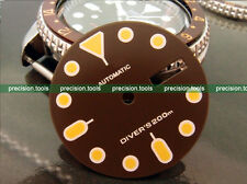 0508 Dark Coffee Color Replacement Dial For SCUBA SKX007 009 Dark Yellow Marks