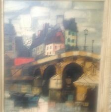 Signed Oil On Canvas Painting GERARD French Bridge City Scene W Boat On Water