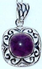 Chunky Sterling SILVER Amethyst Pendant Genuine Purple Gem NEW Handmade 925 Gift