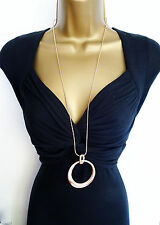 "Fab 30"" Long Snake Chain Rose Gold Tone Necklace and Beaten Loop Pendant"