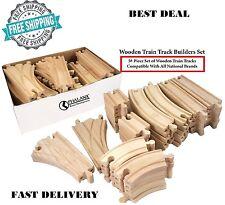 54 Piece Wooden Train Track Builders Set Of Wooden Tracks Compatible Brio Doug