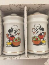 Authentic Disney Japan White Porcelain MICKEY MOUSE Salt Pepper Shakers NEW